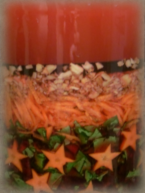 Star kvass with beets, beet greens, carrots, and ginger